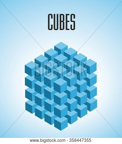 Vector Illustration, Blue Three Dimensional Cubes In Four Rows.