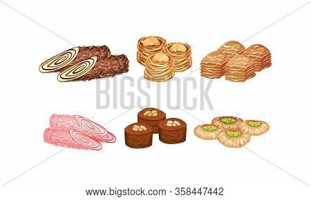 Oriental Sweets And Turkish Delights With Baklava Vector Set