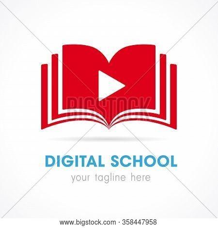 Digital School Open Book Logo. On-line Educational Vector Icon. E-book, E-library Or E-reader Soft I