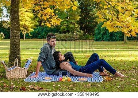 Autumn In The Netherlands At The Veluwe National Park, Couple Picnic Under A Tree During Fall Season