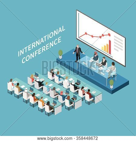International Conference Hall Big Lcd Screen Presentation Isometric Composition With Speaker And Par