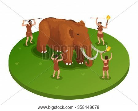Caveman Prehistoric Primitive People Isometric Composition With Image Of Mammoth Being Attacked By G