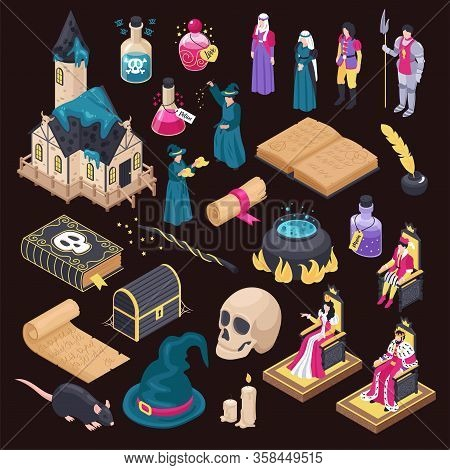 Magical Isometric Icons Set Of Magic Book Skull Magic Hat Wizard Hag Isolated On Black Background Ve