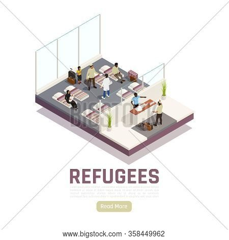 Refugees Stateless People Asylum Seekers Center Interior Isometric Composition With Reception And Ho