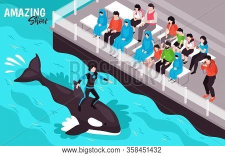 Amazing Show In Dolphinarium Isometric Background With Female Animal Trainer Standing On Swimming Or