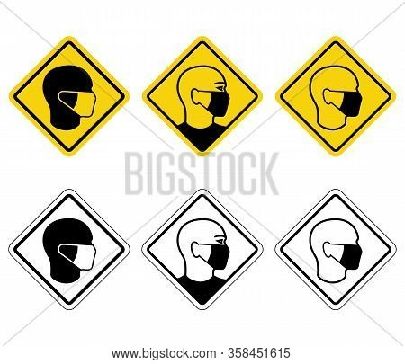 Warning Banners Only In Medical Mask. Man In Medical Mask Prescriptive Signs Set Isolated On White B