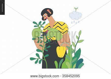 Gardening People, Spring - Modern Flat Vector Concept Illustration Of A Young Brunette Woman Wearing
