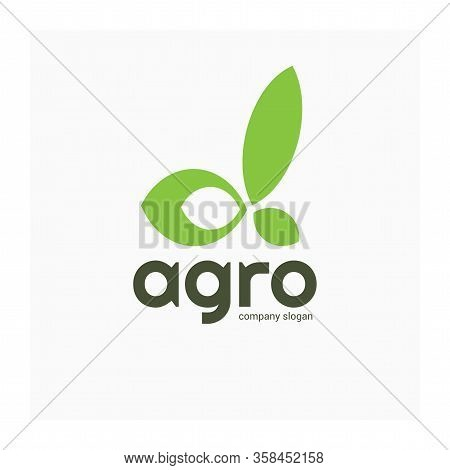 Agricultural Company Logo. Letter Alpha From Leaves. Green Eco Friendly Sign. Symbol Alpha For Agric
