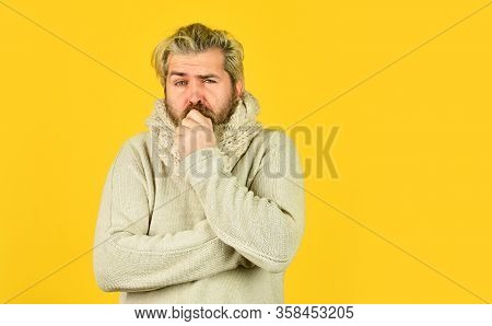Body Temperature. Fever And Thermal Regulation Of Immunity. Bearded Man Sick. Warm Scarf Around Neck