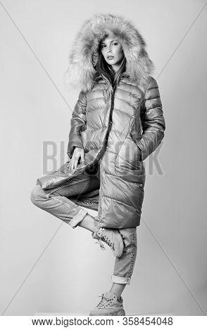 Favorite Season. Woman In Padded Warm Coat. Beauty In Winter Clothing. Cold Season Shopping. Happy W