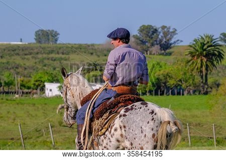 Caminos, Canelones, Uruguay, Oct 7, 2018: Gaucho On Horse In Caminos, Canelones, Uruguay, South Amer