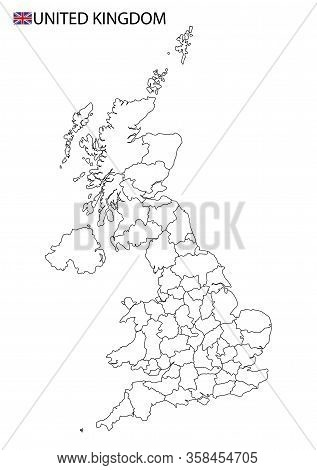 United Kingdom Map, Black And White Detailed Outline Regions Of The Country.