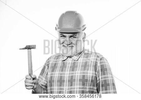 Experienced Engineer. Repairing Or Renovating. Home Improvement Repair. Man Bearded Laborer Wear Hel