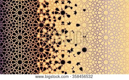 Rich, Luxury Arabesque Tile Repeating Vector Border. Geometric Halftone Pattern, Border With Color A