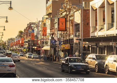 Adelaide, Australia - January 26, 2020: Hindley Street With Bars, Cafes And Restaurants In Adelaide