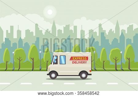 White Flat Cartoon Delivery Van And On The Road And Blue City At Background With Green Trees. Delive