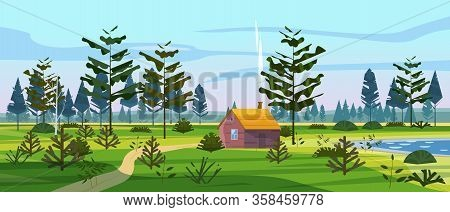 Meadow And Forest Landscape Nature, Spruce Pine Trees, Grass And Bushes. Panorama Scenery Hut House