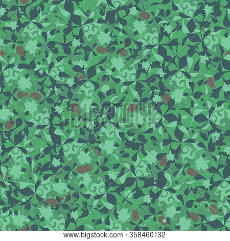 Green Textile Seamless Pattern. Leafy Abstract Endless Background For Fabric, Tile, Textile.