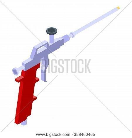 Polyurethane Foam Steel Gun Icon. Isometric Of Polyurethane Foam Steel Gun Vector Icon For Web Desig