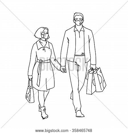 Tall Man With Medical Mask And Woman With Facial Tissue Walking With Him By The Hand. Vector Illustr