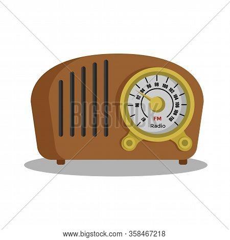 Vintage Radio Tuner. Fm Recorder Flat Design