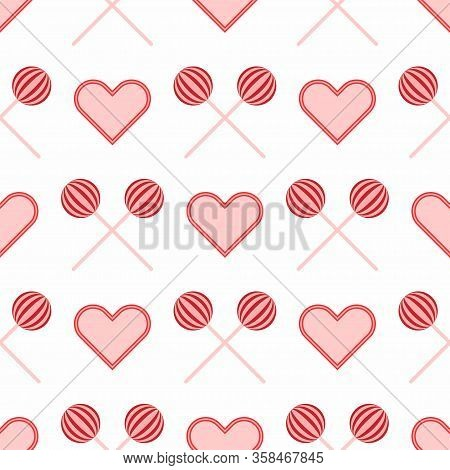 Seamless Pattern With Repeating Lollipops And Hearts. Cute Girly Print. Vector Illustration.