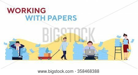 Stressed Employees Working With Piles Of Papers Set. Document Stacks, Reports, Archive Flat Vector I