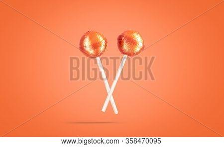 Blank Two Caramel Lollipop Mockup, No Gravity, Orange Background, 3d Rendering. Empty Sweet Sucker B