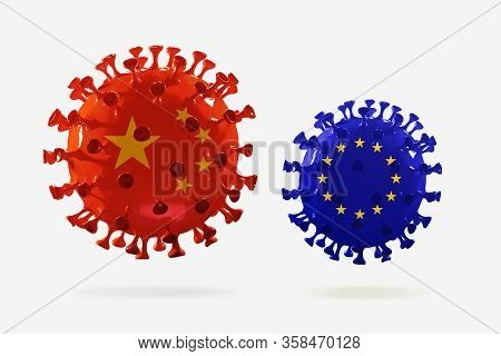 Model Of Covid-19 Coronavirus Colored In National China And Eu Flags, Concept Of Pandemic Spreading,