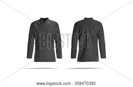 Blank Black Chef Jacket With Buttons Mockup, Front And Back, 3d Rendering. Empty Chief-cooker Reefer