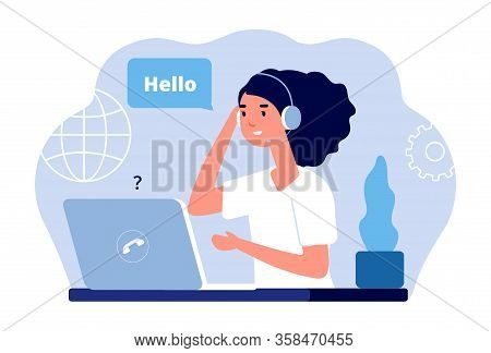 Support Center. Calls Administrator, Woman With Laptop And Headphones. Customer Service Vector Illus