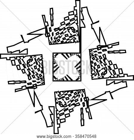 Abstract Arabesque Inside Tower Schematik Wired Stairs Vertical Structure Illusion Perspective Desig