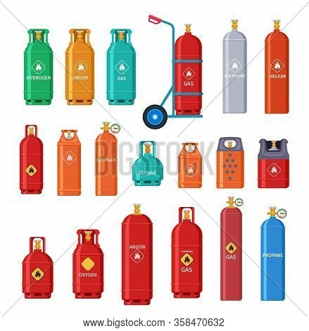 Gas Cylinder. Oxygen Metal Tank, Bottle Storage. Home And Outdoor Petroleum Industry Equipment. Isol
