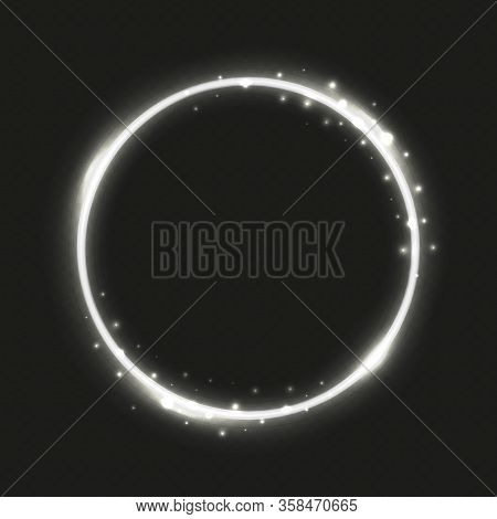 Circle Silver Frame. Neon Lighting Banner Isolated On Transparent Background. Round Glow And Glitter