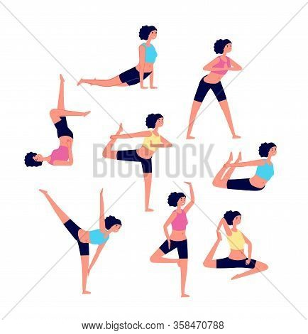 Yoga Workout. Female Stretching Exercises. Sport Different Poses For Women. Athlete Warms Up Muscle,