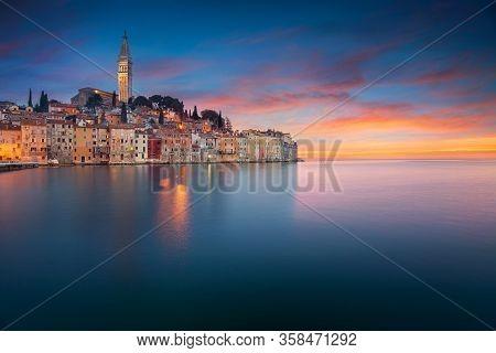 Rovinj, Croatia. Beautiful Romantic Old Town Of Rovinj During Sunset, Istrian Peninsula, Croatia, Eu