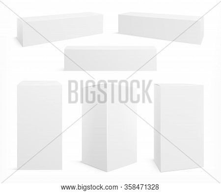 Realistic White Box. Cosmetics Packaging Mockup, Isolated Paper Packs. Medicine 3d Blank Boxes, Clos