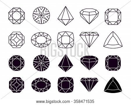 Diamonds Icons. Geometric Jewelry Symbols, Shapes Luxury Brilliants. Isolated Line And Silhouette Ge