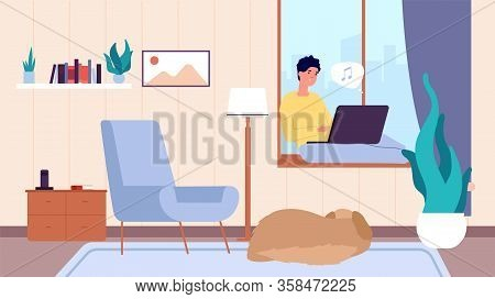 Guy With Laptop. Man Resting, Person And Dog In Living Room. Freelancer, Online Chat And Work Vector