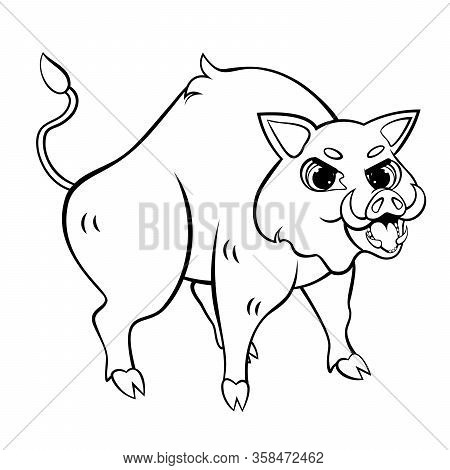 Cartoon Wild Boar Vector Coloring Page. Angry Hog. Coloring Book Of Forest Animals For Kids.