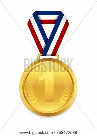 Golden Medal With 1st Place For Winner. Award Medallion With Red Ribbon. Trophy Gold Prize On Isolat