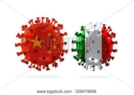 Model Of Covid-19 Coronavirus Colored In National China And Italy Flag, Concept Of Pandemic Spreadin