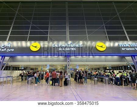Ben Gurion, Israel - September 30, 2019: Entrance To The Departure Area Of Ben Gurion International