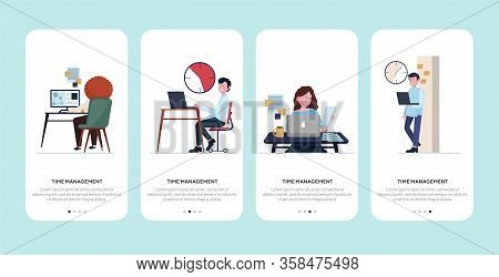 Time Management In Office Set. Employees Working Near Clock, Using Computers, Workplaces Flat Vector