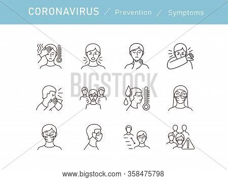 Set Of Coronavirus Protection. Prevention Of New Epidemic 2019-ncov Icon Set For Infographic Or Webs
