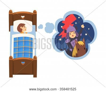 Cute Girl Sleeping In Bed And Dreaming About Knight Galloping On Horseback, Kid Lying In Bed Having