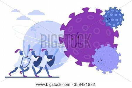Doctors Knights Protect Earth From Coronavirus Character Flat Vector Illustration Concept, Poster, B