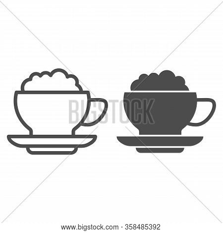 Coffee With Cream Line And Solid Icon. Hot Drink Mug Of Frappe And Milk Ice-cream Symbol, Outline St