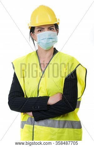 Architect Woman Worker With Protective Mask ,protection From Flu Or Virus Isolated Onw Hite Backgrou