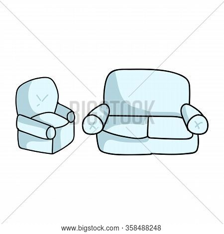 Cute Cartoon Lounge Couch And Armchair For Household Furniture Vector Clipart. Home Decor Living Roo